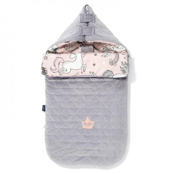 LA Millou VELVET BAG PREMIUM COLLECTION stroller sleeping bag S UNICORN SUGAR BEBE GRAY
