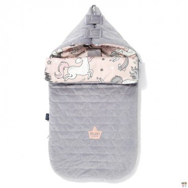 LA MILLOU VELVET COLLECTION STROLLER BAG PREMIUM ŚPIWOREK S UNICORN SUGAR BEBE GREY