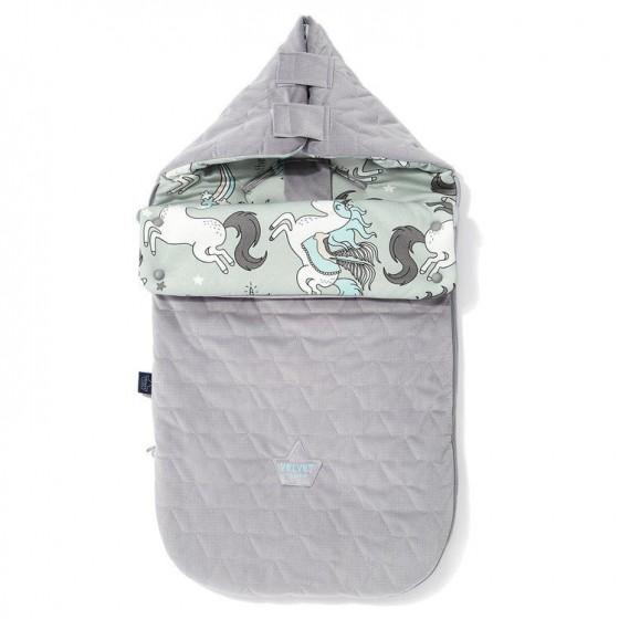 LA Millou VELVET BAG PREMIUM COLLECTION stroller sleeping bag S UNICORN RAINBOW GRAY KNIGHT