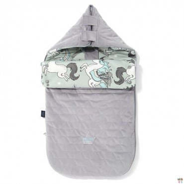 LA MILLOU VELVET COLLECTION STROLLER BAG PREMIUM ŚPIWOREK S UNICORN RAINBOW KNIGHT GREY