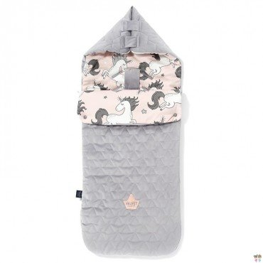 LA MILLOU VELVET COLLECTION STROLLER BAG PREMIUM ŚPIWOREK M UNICORN SUGAR BEBE GREY