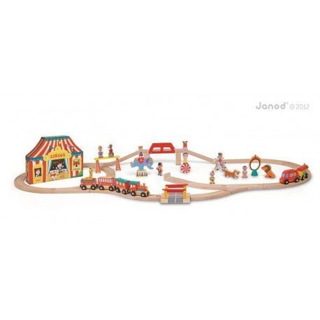 Circus wooden train set 52 parts Janod