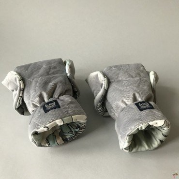 LA MILLO muff GLOVES PREMIUM KNIGHT UNICORN RINBOW GRAY VELVET COLLECTION BY MAY Bohosiewicz