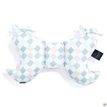 LA COLLECTION Millou VELVET CUSHION ANGEL'S WINGS LA Millou FAMILY CHESSBOARD POWDER BLUE