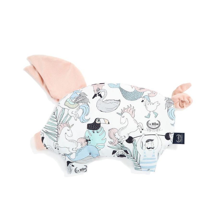 LA MILLOU SLEEPY PIG PILLOW MISS CLOUDY GREY