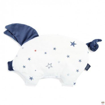 LA MILLOU VELVET COLLECTION SLEEPY PIG PILLOW GALAXY STAR BRIGHT HARVARD BLUE