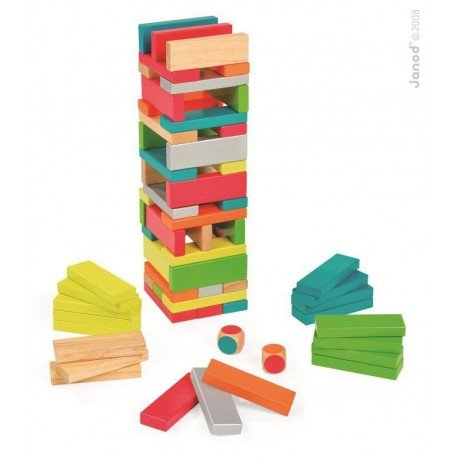 Jenga game with colors Equilibloc, Janod