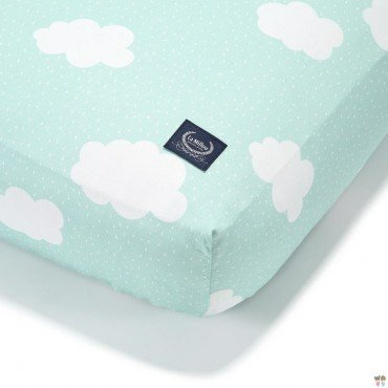 LA MILLOU BEDSHEET GOOD NIGHT 60x120 cm CLOUDS ON MINT