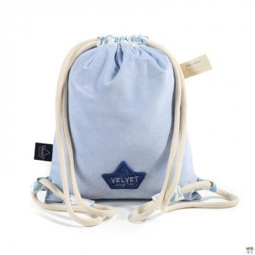 LA Millou BACKPACK DOUBLE PACK LA POWDER BLUE VELVET CHESSBOARD Millou FAMILY COLLECTION