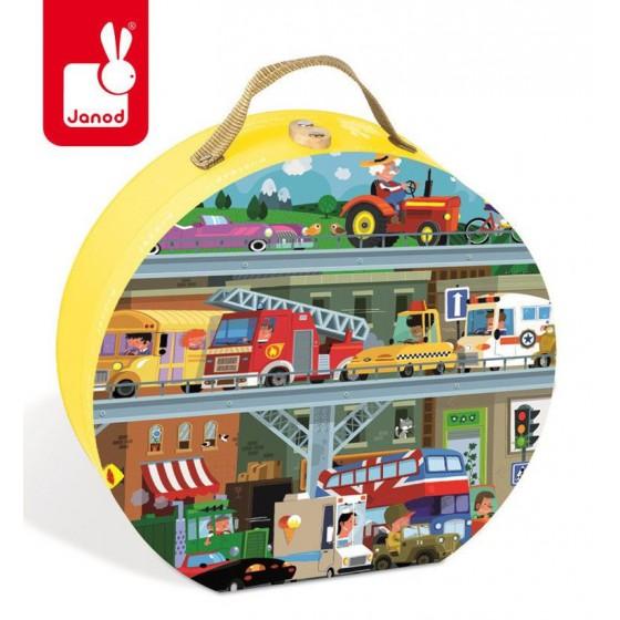 JANOD Puzzle w walizce Pojazdy 100 elementów