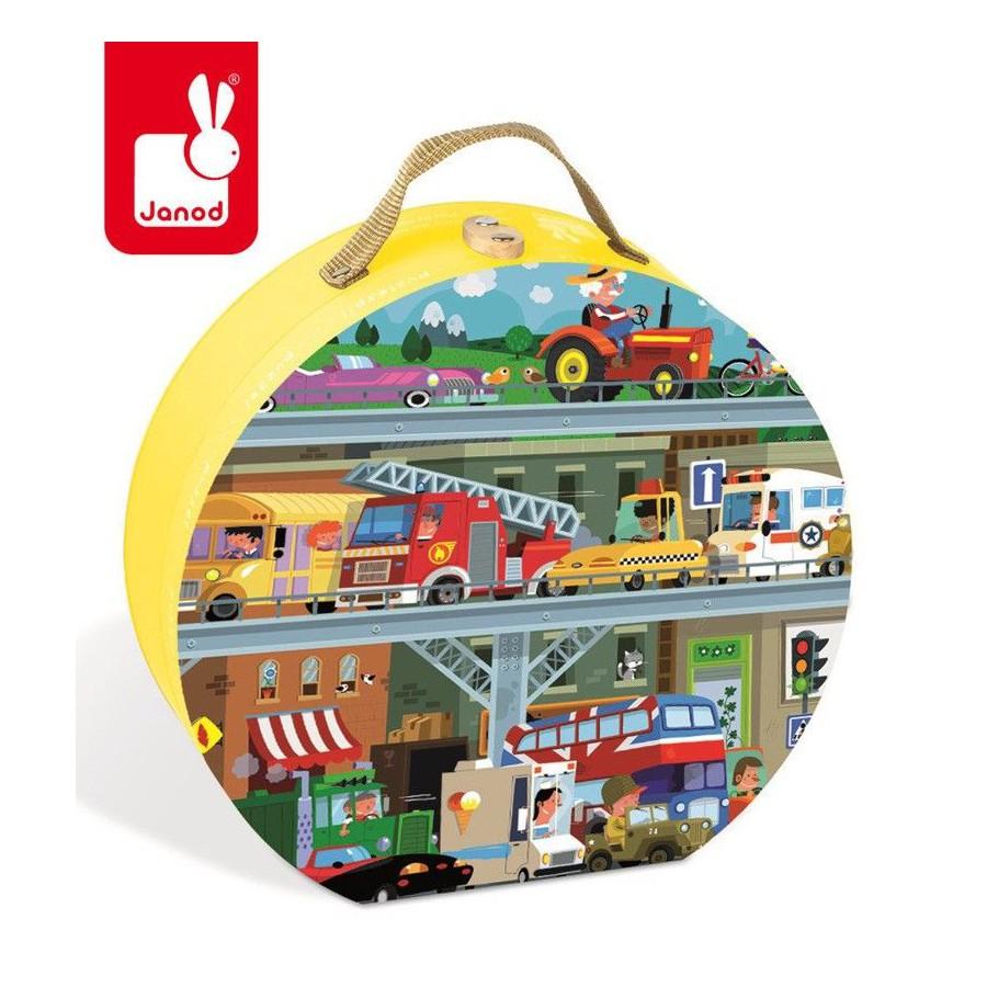 Puzzle w walizce Pojazdy 100 elementów, Janod