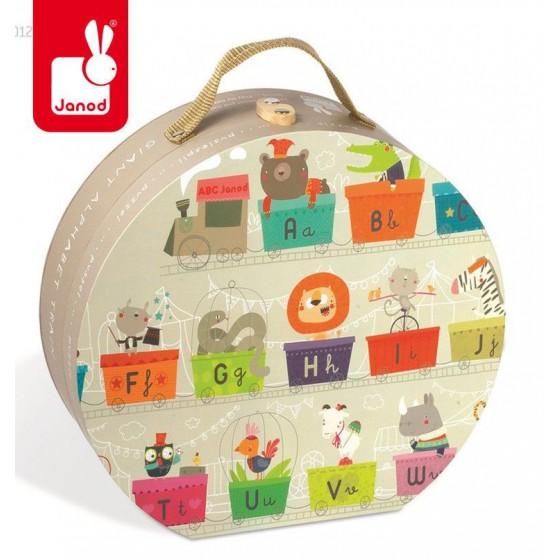 Puzzle w walizce Alfabet pociąg 27 elementów, Janod