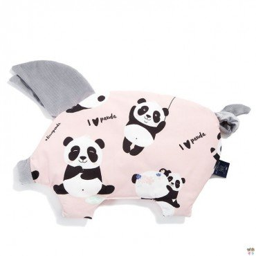 LA Millou pillow ILOVEPANDA SLEEPY PIG PINK DARK GRAY VELVET COLLECTION BY Marta Zmuda