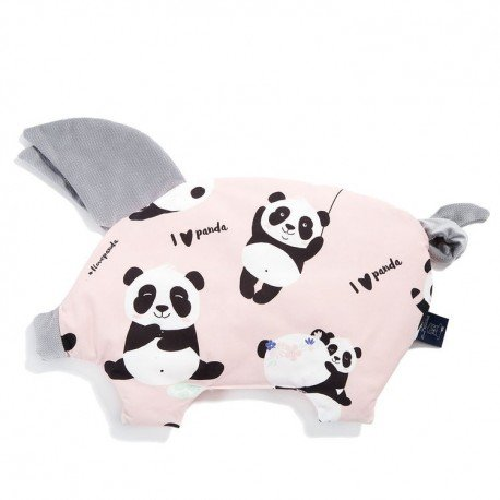 LA Millou pillow ILOVEPANDA SLEEPY PIG PINK DARK GRAY VELVET