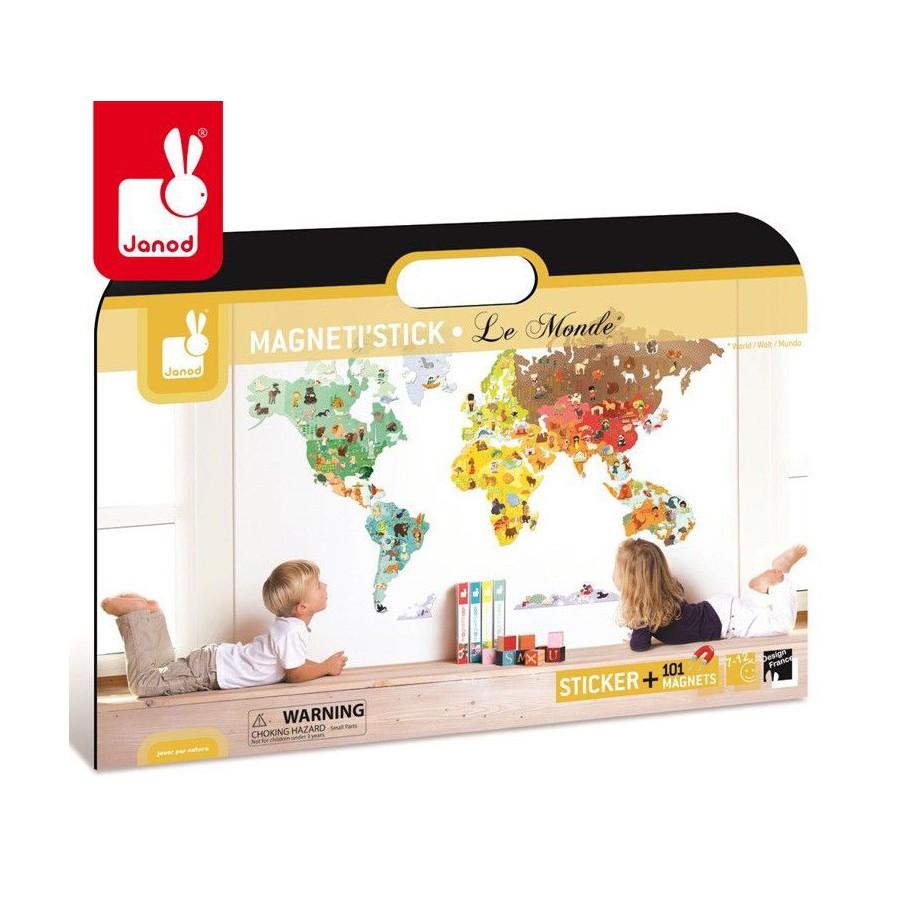 Wall Sticker XXL with 101 magnets World Magneti'Stick, Janod