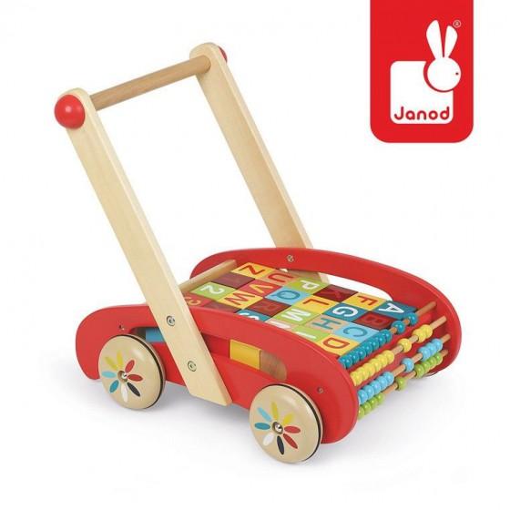 JANOD walker trolley pusher with large alphabet blocks
