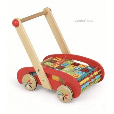 JANOD walker trolley pusher with large alphabet blocks