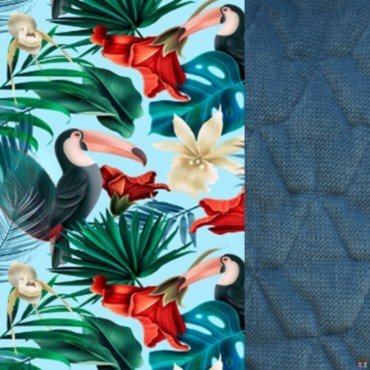 LA MILLOU KOCYK ŚREDNIAKA SLIM BLUE HAWAIIAN BIRDS DENIM VELVET COLLECTION