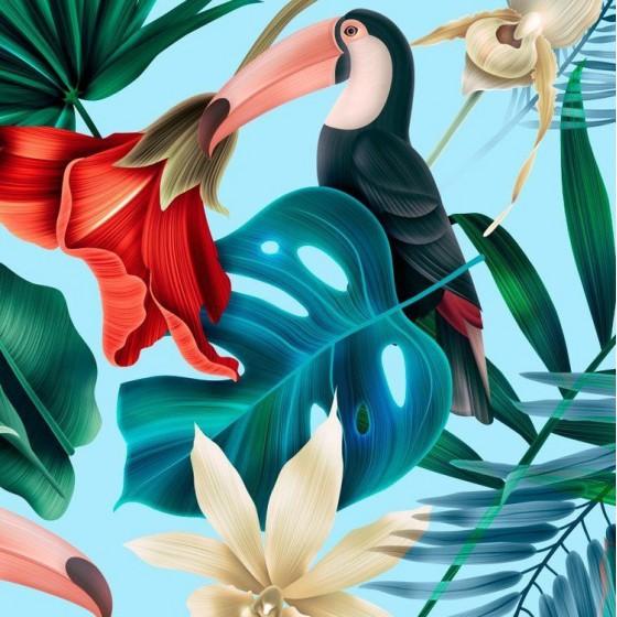 La Millou BED BUMPER - BLUE HAWAIIAN BIRDS
