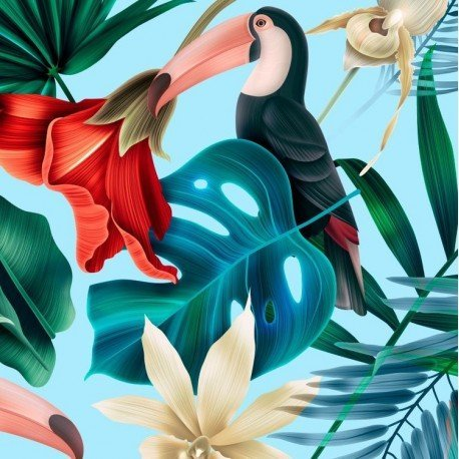 LA Millou PROTECTION FOR BEDS BLUE HAWAIIAN BIRDS
