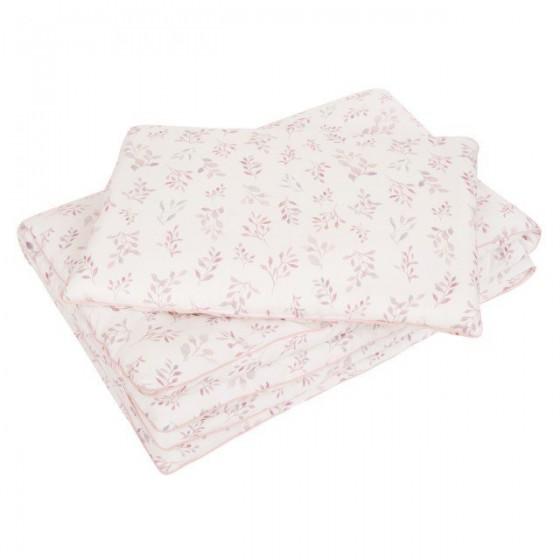 Samiboo - Pościel z wypełnieniem listki różowa wypustka 135x100 cm /40x60 cm