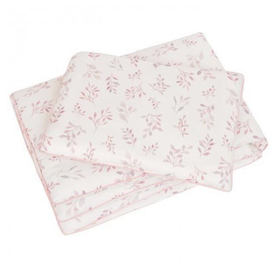 Samiboo - Pościel z wypełnieniem listki różowa wypustka 75x100 cm /30x40 cm