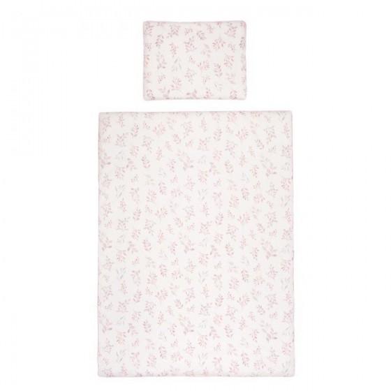 Samiboo - Poszewki na pościel listki różowa wypustka 135x100 cm /40x60 cm