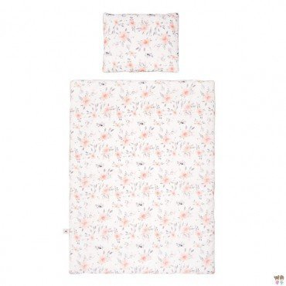 Samiboo - Poszewki na pościel kwiaty różowa wypustka 135x100 cm /40x60 cm