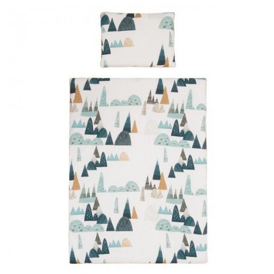 Samiboo - Poszewki na pościel góry musztardowa wypustka 135x100 cm /40x60 cm