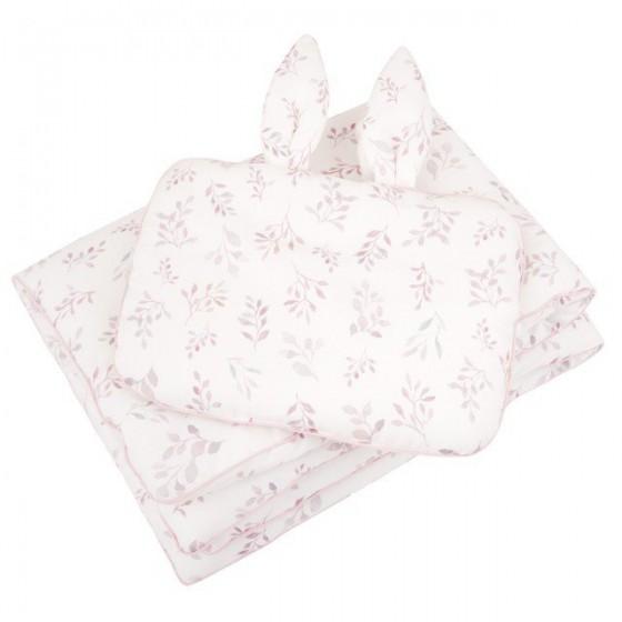 Samiboo - Pościel z wypełnieniem listki różowa wypustka 75x100 cm 30x40 cm z uszkami