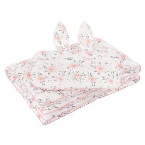 Samiboo - Pościel z wypełnieniem kwiaty różowa wypustka 75x100 cm 30x40 cm z uszkami