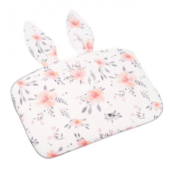 Samiboo - Bambusowa poduszka kwiaty z uszkami 25x35 różowa wypustka