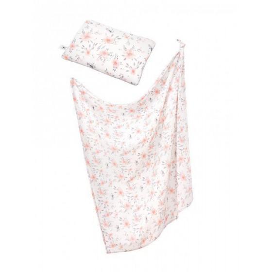 Samiboo - Bambusowy zestaw w kwiaty otulacz z frędzlami i poduszka z CLASSIC szara wypustka
