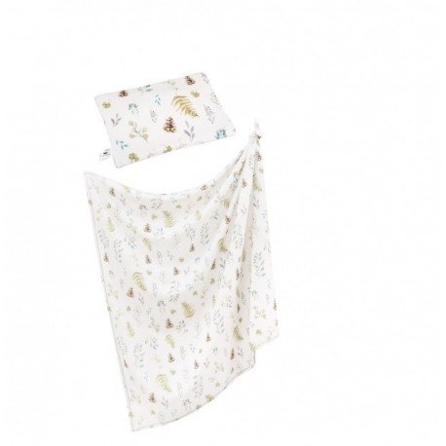 Samiboo - Bambusowy zestaw leśny otulacz/lekki kocyk i poduszka CLASSIC szara wypustka
