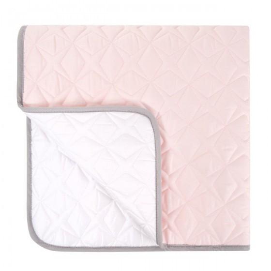 Samiboo - Pikowana mata dwustronna Super Star 90x90 biało-różowa