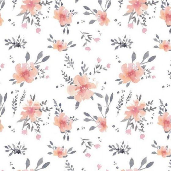 Samiboo - Ochraniacz do łóżeczka 140/70 kwiaty z wyjmowanym wkładem
