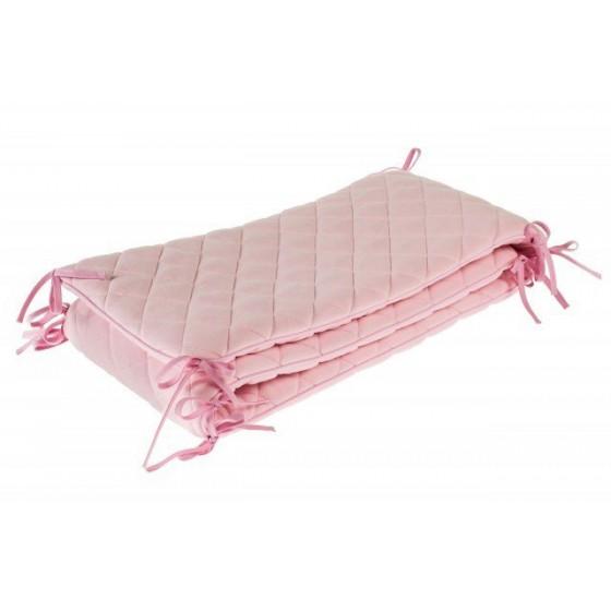 Samiboo - Pikowany ochraniacz Romby różowy na całe łóżeczko 120x60 cm (360cm)
