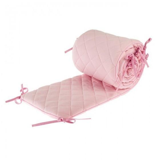 Samiboo - Pikowany ochraniacz Romby różowy na całe łóżeczko 140x70cm (420cm)