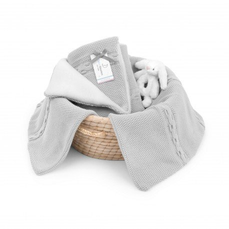 ColorStories - with padded fleece blanket - light gray