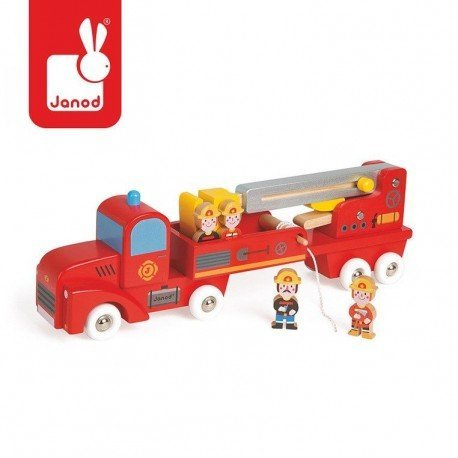 Fire brigade JANOD large wooden of 4 figures