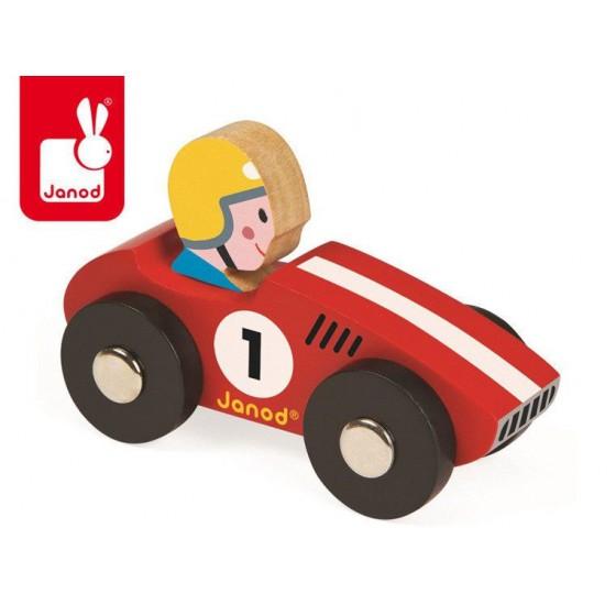 Wyścigówka drewniana Racer opakowanie zbiorcze 6 szt. (3 x czerwona i 3 x żółta), Janod