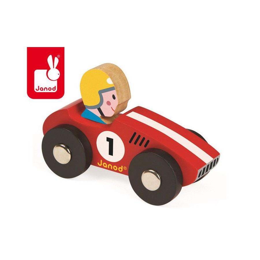 Janod, Wyścigówka drewniana Racer czerwona