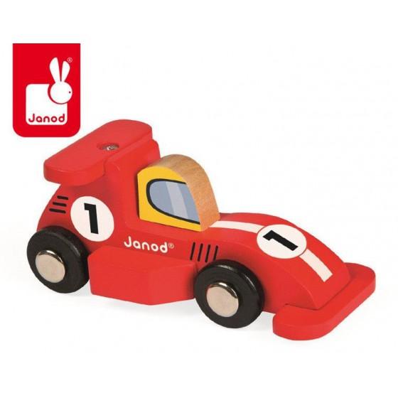 Wyścigówka drewniana Formuła1 opakowanie zbiorcze 6 szt. (3 x czerwona i 3 x srebrna), Janod