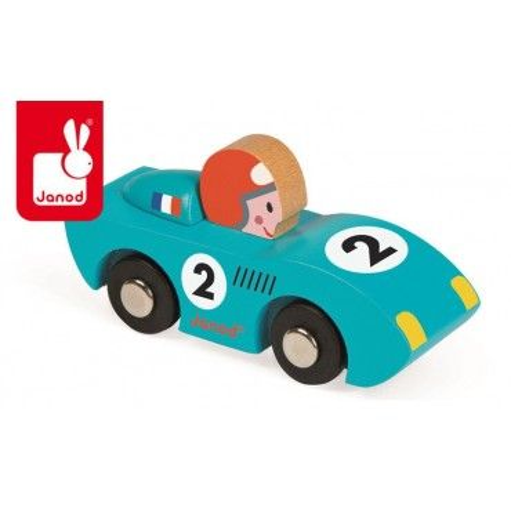 JANOD Wyścigówka drewniana Speed niebieska