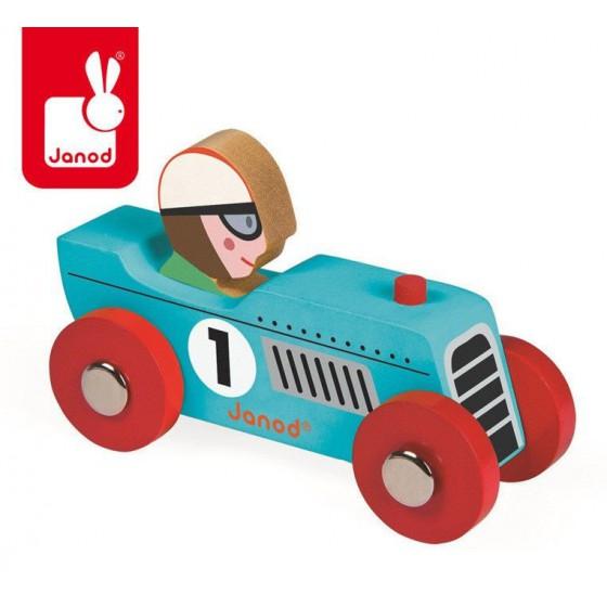 Wyścigówka drewniana Retromotor opakowanie zbiorcze 6 szt. (3 x niebieska i 3 x srebrna), Janod