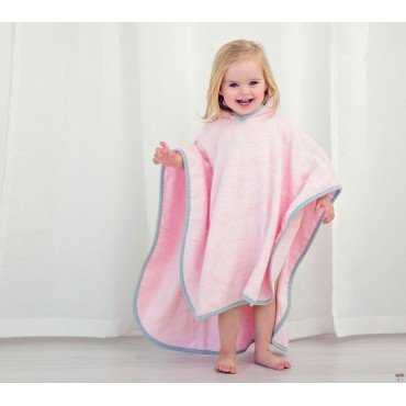 LULLALOVE Poncho BATH% Pink 100 TERRY BAMBOO
