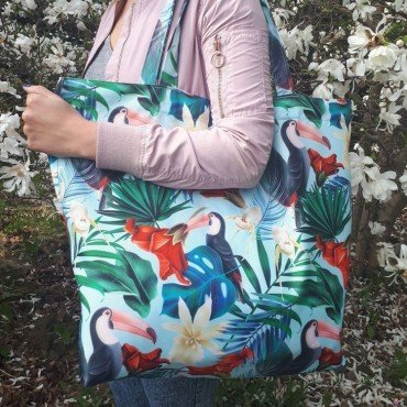LA MILLOU SHOPPER BAG BLUE HAWAIIAN BIRDS
