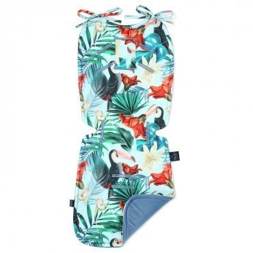 LA MILLOU THICK STROLLER PAD BLUE HAVAIIAN BIRDS DENIM VELVET COLLECTION