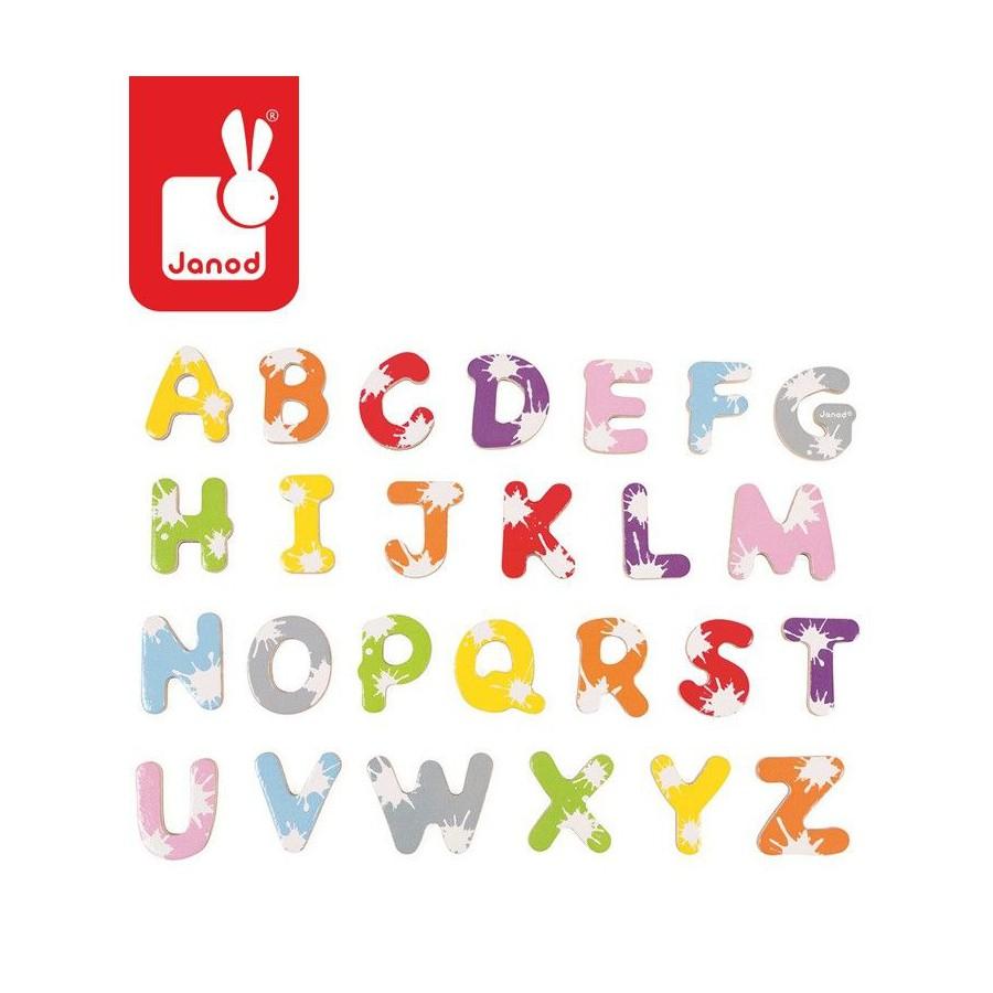 Janod, wooden magnets WordBox 52 pieces