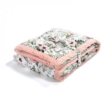 LA MILLOU ADULT BLANKET 140x200cm WILD BLOSSOM POWDER PINK VELVET COLLECTION